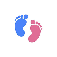 Blue And Pink Baby Footprint. ...