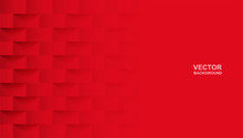 Abstract. Red Square Geometric Background. Light And Shadow . Vector.