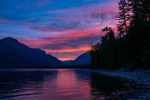 Beautiful Sunrise Of The Lake Mcdonald