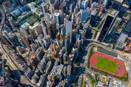 Fototapeten New York Top view of Hong Kong city