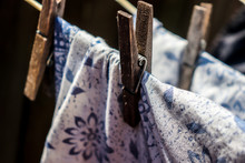 Fabric On Clothes Line Pegged