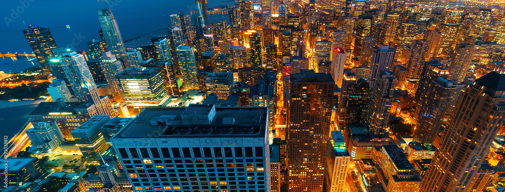 Fototapeta Chicago cityscape skyscrapers at night aerial view