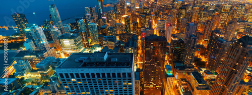 Cuadros en Lienzo Chicago cityscape skyscrapers at night aerial view