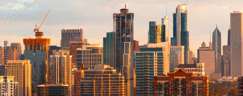 Downtown Chicago cityscape skyscrapers skyline at sunset Canvas Print
