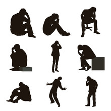 People Are Depressed Or Frustrated Silhouettes
