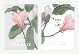 Fototapeta Kwiaty - Floral wedding invitation card template design, pink Anise magnolia flowers on grey and white, pastel vintage theme