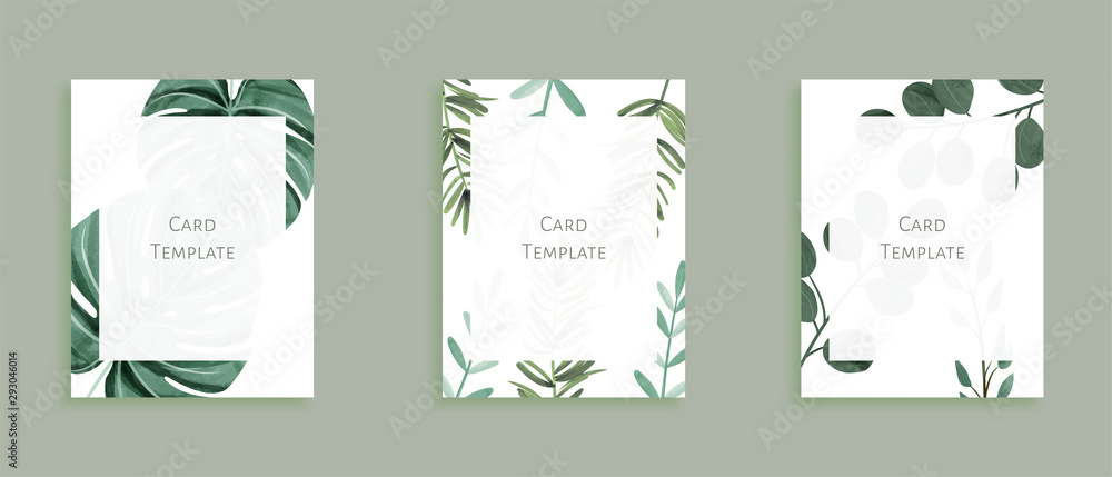 Fototapeta Set of modern card templates. Decorated with wild leaves in green theme. Aim used for wedding, invitation, menu, greeting card, magazine, cover, and more.