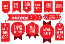 Set Ribbon Banner And Label Sticker Sale Offer And Badge Tag Sale Advertising