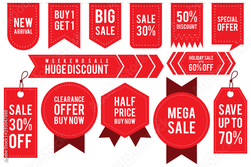 Cuadros en Lienzo  Set ribbon banner and label sticker sale offer and badge tag sale advertising