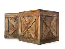 Old Closed Wooden Crates Isola...