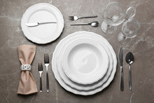 Elegant Table Setting On Marbl...