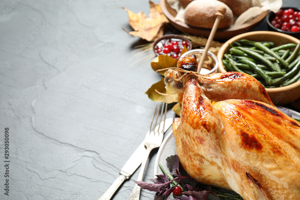 Fototapety, obrazy: Composition with turkey on grey background, space for text. Happy Thanksgiving day
