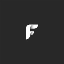 Logo F Letter Overlapping Paper Material Design Typography Element, Black And White Minimal Style