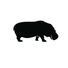 Hippo Logo Icon Silhouette Vec...