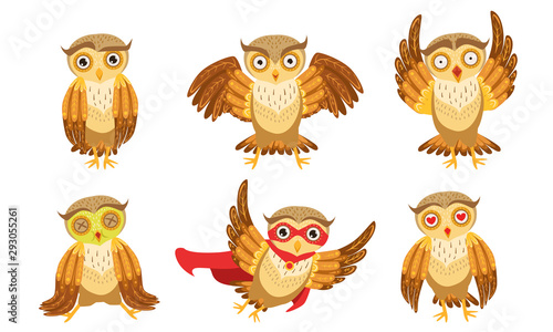 Cute Owl Cartoon Characters Set Adorable Funny Brown Owlets In Different Poses Vector Illustration Buy This Stock Vector And Explore Similar Vectors At Adobe Stock Adobe Stock