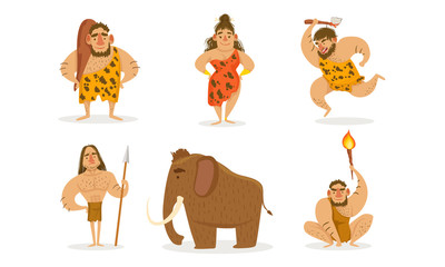 Prehistoric Stone Age Set, Primitive Men and Woman with Weapon, Mammoth Vector Illustration