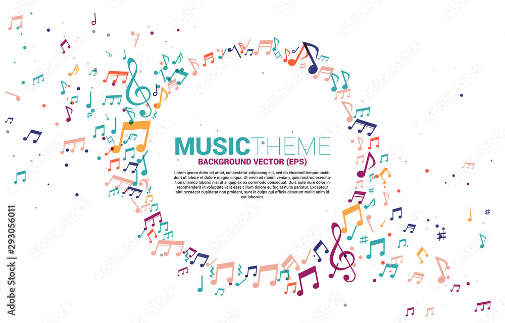 Fototapeta Vector template banner and poster colorful music melody note dancing flow . Concept background for song and concert theme.