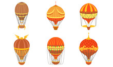Collection Of Vintage Hot Air Balloons, Retro Air Transport Vector Illustration