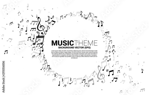 Fototapeta Vector template banner and poster music melody note dancing flow . Concept background for song and concert theme. obraz