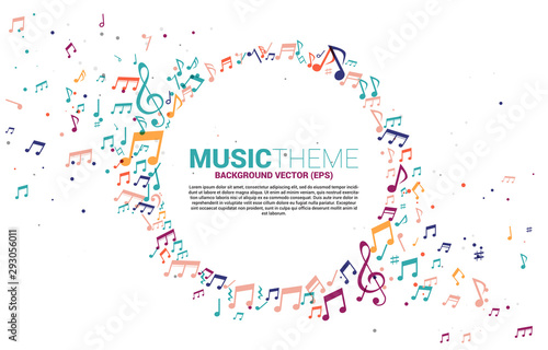 Vector template banner and poster colorful music melody note dancing flow . Concept background for song and concert theme. - 293056011