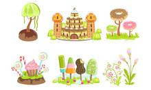 Candy Land Set, Sweet Fantasy Landscape Elements, Castle, Trees And Plants, Computer Or Mobile Game Assets Vector Illustration