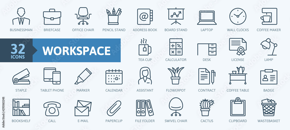 Fototapeta Office workspace elements - thin line web icon set. Outline icons collection. Simple vector illustration.
