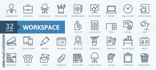 Office workspace elements - thin line web icon set Wallpaper Mural