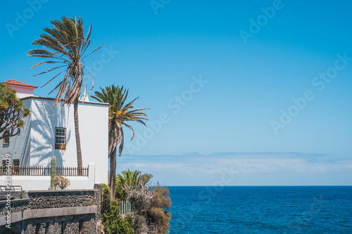 Fotobehang Canarische Eilanden house with ocean view, palm trees and blue sky copy space - Canary Islands