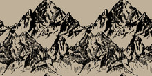Seamless Pattern With Peaks . Drawing By Hand In Vintage Style . Mountains , Rocks .