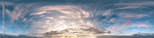 Obraz Seamless cloudy blue sky hdri panorama 360 degrees angle view with zenith and beautiful clouds for use in 3d graphics as sky dome or edit drone shot - fototapety do salonu
