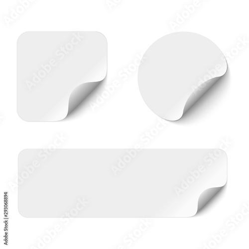 Obraz Blank adhesive stickers mock up with curved corner. Mockup empty sticky label. - fototapety do salonu