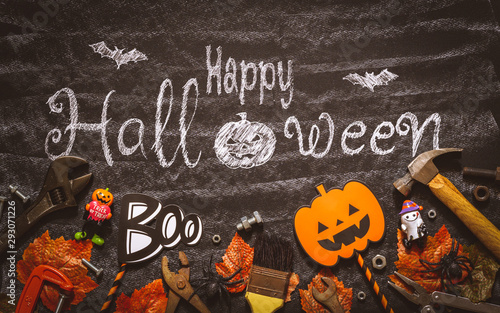 Happy Halloween day with construction DIY handy tools on black chalk board background concept Canvas-taulu