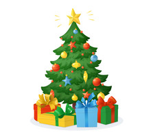 Cartoon Christmas Tree With Presents Isolated On White Background. Decorations With Stars, Balls And Garlands