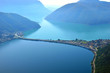 Leinwandbild Motiv View of Lake Lugano panorama from Monte San Salvatore Bridge over Lake Lugano in Switzerland.