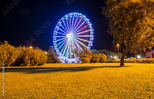 Fotografia  Night image of the Ferris wheel in Olbia, Sardinia