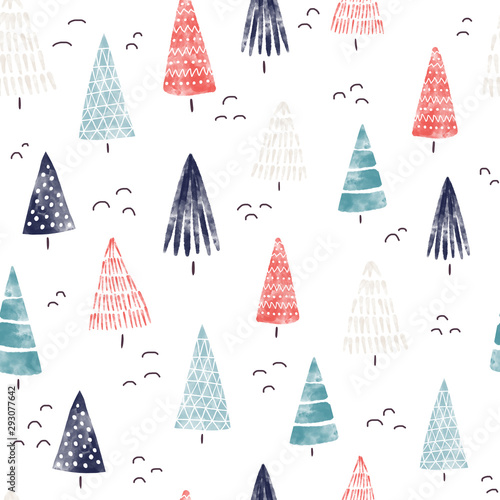 Fototapety, obrazy: Christmas Watercolor background. Seamless pattern hand drawn trees. Decorative holiday background. Winter holiday design blue red white for fabric, gift wrap, card decoration, digital scrapbooking