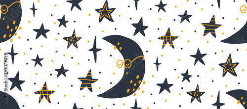 Hand drawn vector seamless pattern illustration of a night starry sky. Scandinavian style flat design for kids. The concept for children's textile, wrapping, wallpaper, covers.