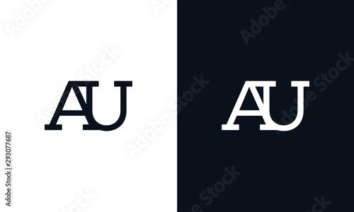 Minimalist line art letter AU logo Wallpaper Mural
