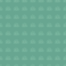 Simple Floral Ethnic Seamless Pattern On Teal Background, Vector