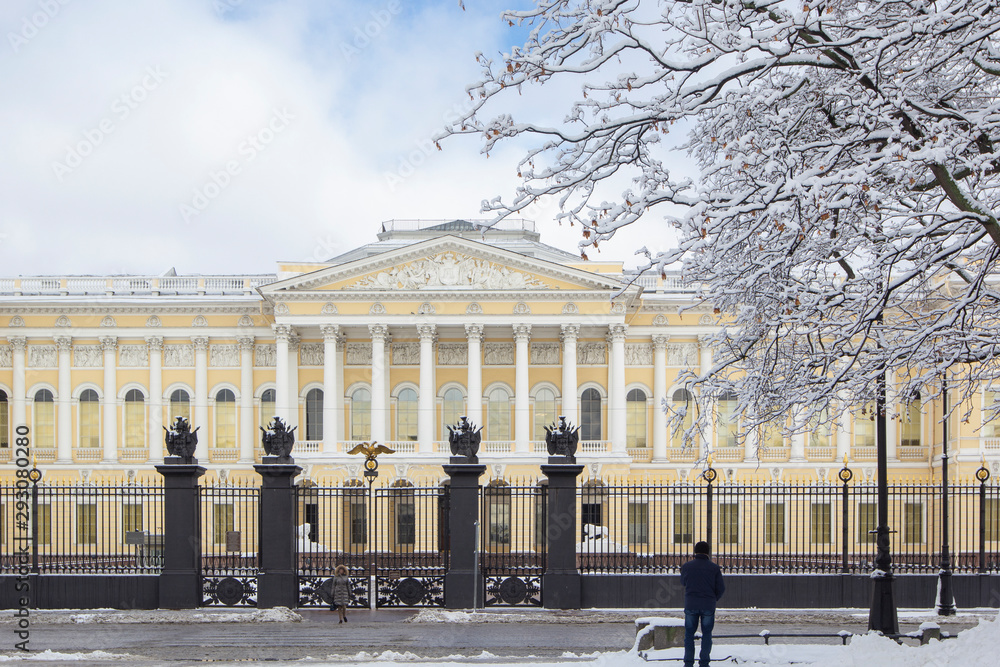 Russian Museum on Square of Arts in winter with snow-white trees, St Petersburg, Russia.