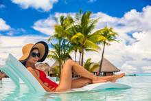 Luxury Pool Vacation Woman Sun...
