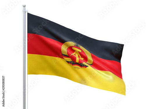 Fotografía  East Germany flag waving on white background, close up, isolated