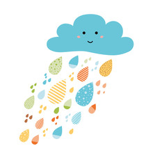 Cute Colorful Drops Of Rain Clouds. Rainy Autumn Banner Fall Background Smile Character
