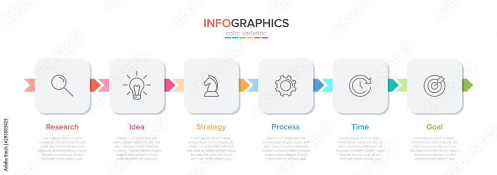 Fototapeta Concept of arrow business model with 6 successive steps. Five colorful rectangular elements. Timeline design for brochure, presentation. Infographic design layout.