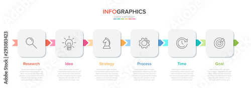 Obraz Concept of arrow business model with 6 successive steps. Five colorful rectangular elements. Timeline design for brochure, presentation. Infographic design layout. - fototapety do salonu