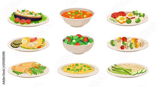 Fototapeta Vector Isometric Illustration Set With Vegetarian Dishes Isolated On White Background obraz