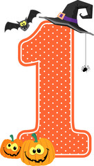 number 1 with smiling pumpkins and halloween design elements isolated on white background. can be used for nursery decoration or halloween paty invitation