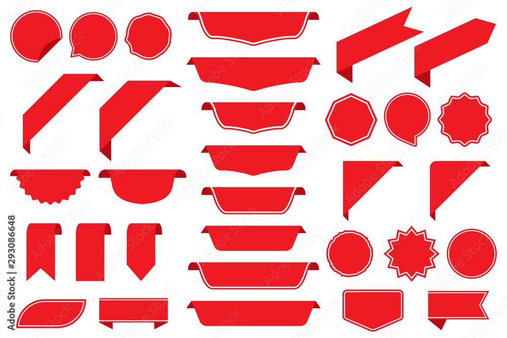Fototapeta Set of blank labels in red isolated on white background. Ribbon set. Sticker set. Vector illustration
