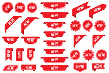 Set Of New Labels In Red Isola...