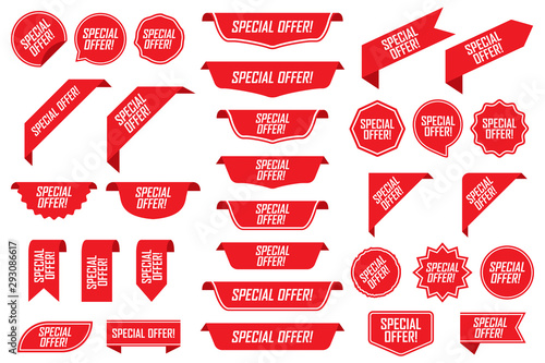 Fotografía  Set of special offer labels in red isolated on white background